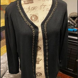 Pierre New York embellished open cardigan